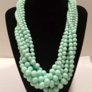 Six Strand Teal Faux Pearl Bead Necklace